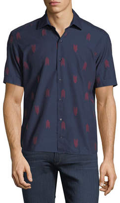 Culturata Chevron Embroidered Short-Sleeve Shirt