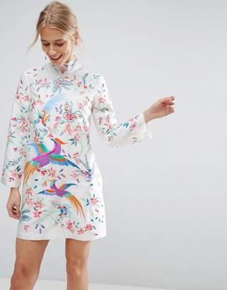 ASOS Embroidered Bird Taffeta Mini Dress $119 thestylecure.com