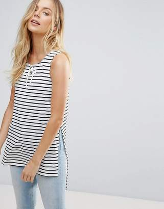 Brave Soul Nautica Dip Back Stripe Tank With Tie Front