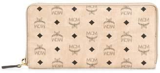 MCM logo print zip around wallet