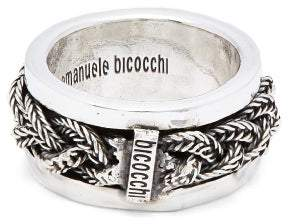 Emanuele Bicocchi Braided Sterling Silver Ring - Mens - Silver