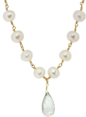 Lori Kaplan Jewelry Pearls with Green Amethyst Necklace