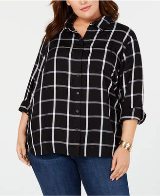 Tommy Hilfiger Plus Size Printed Cotton Button-Front Shirt, Created for Macy's