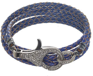 Margo Morrison New York Silver 1.42 Ct. Tw. Diamond Leather Wrap Bracelet