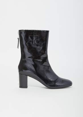 Courreges Vinyl Leather Logo Ankle Boots Black