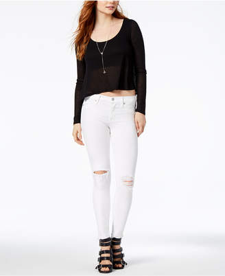Hudson Nico Mid Rise Destructed Super Skinny Ankle Jean