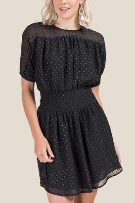 francesca's Casey Smocked Waist Dress - Black