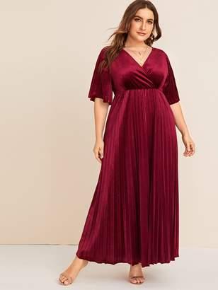 Shein Plus Surplice Neck Pleated Velvet Dress