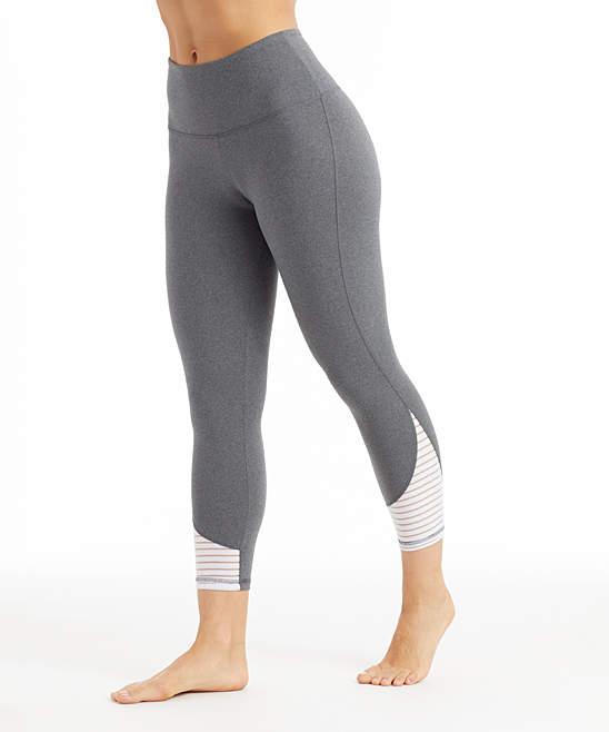 Gray & White Addison Capri Leggings - Plus