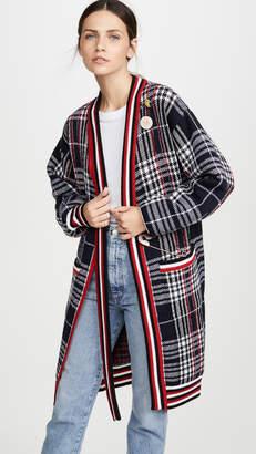 Monse Plaid Neck Tie Long Cardigan