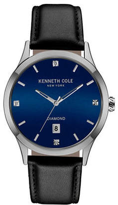Kenneth Cole New York Round Stainless Steel Leather-Strap Watch