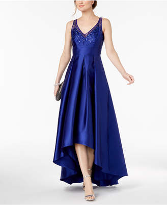Adrianna Papell Beaded V-Neck Mikado Satin Gown