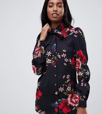 Parisian Tall floral print bussy bow blouse