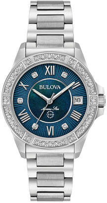 Bulova Women's Diamond Accent Marine Star Stainless Steel Bracelet Watch 32mm 96R215 $550 thestylecure.com