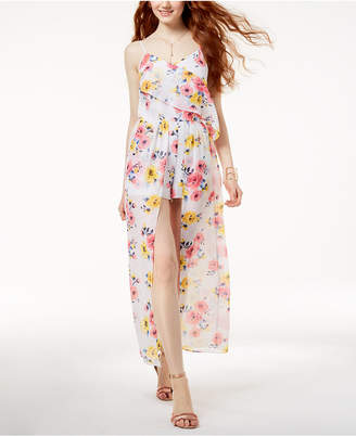 The Edit By Seventeen Juniors' Floral-Print Maxi Romper, Created for Macy's