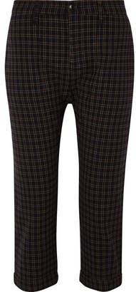 The Great The Saddle Cropped Checked Twill Straight-leg Pants - Black