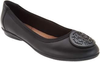 Clarks Leather Medallion Comfort Ballet Flats - Gracelin Lola