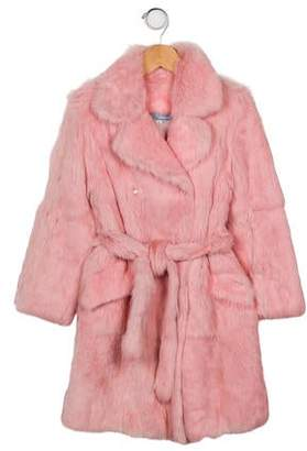 Miss Blumarine Girls' Double-Breasted Fur Coat