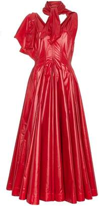 Calvin Klein neck tie V-neck flared nylon gown