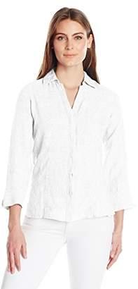 Foxcroft Women's 3/4 Sleeve Taylor Chambray Linen Shirt