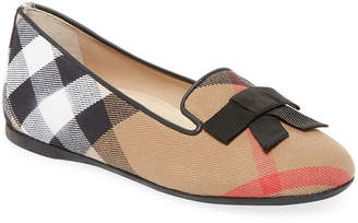 Burberry Bow Leather Ballet Flats
