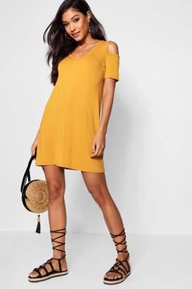 boohoo Basic V Neck Cold Shoulder Swing Dress