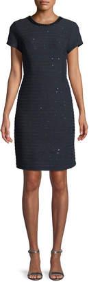 Karl Lagerfeld Paris Cap-Sleeve Sequined-Tweed Dress