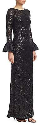 Teri Jon by Rickie Freeman Women's Sequined Bell-Sleeve Gown