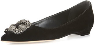 Manolo Blahnik Hangisi Crystal-Buckle Velvet Flat, Grigio $955 thestylecure.com