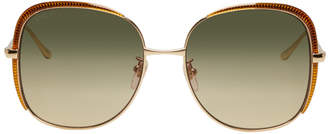 Gucci Gold Guillochet Square Sunglasses