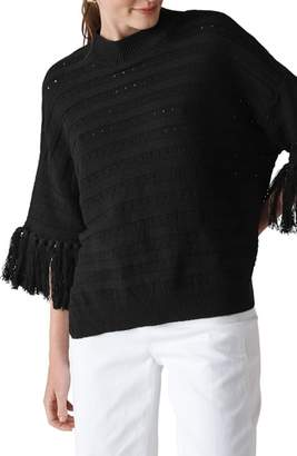 Whistles Fringe Detail Knit Top