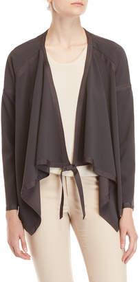 Badgley Mischka Charcoal Odessa Crepe Self-Tie Jacket
