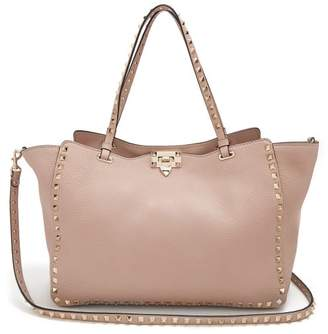 Valentino Rockstud Medium Leather Tote - Womens - Nude
