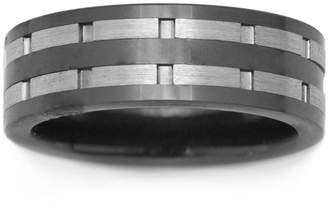 JCPenney FINE JEWELRY Black Ceramic & Stainless Steel Inlay Band