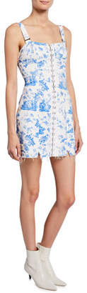For Love & Lemons Monika Hook Front Printed Mini Denim Dress