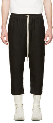 Rick Owens Black Mesh Drawstring Cropped Trousers $755 thestylecure.com