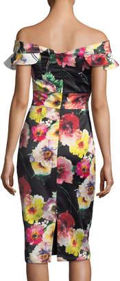 David Meister Floral Off-the-Shoulder Sheath Cocktail Dress