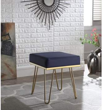 Chic Home Catha Square Ottoman PU Leather Upholstered Hairpin Legs