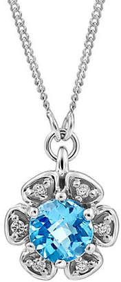 Tag Heuer FINE JEWELLERY 0.03 TCW Diamonds, Blue Topaz and 14K White Gold Pendant Necklace