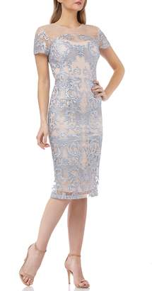 JS Collections Embroidered Mesh Sheath Dress