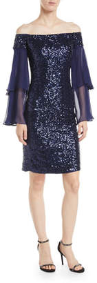 Rickie Freeman For Teri Jon Off-the-Shoulder Sequin Dress w/ Doubled Sleeves