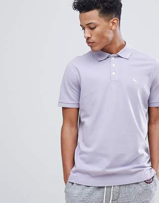 Abercrombie & Fitch Stretch Core Moose Icon Logo Slim Fit Polo in Lavender