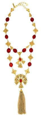 Oscar de la Renta Double Tier Cabochon Charm Tassel Necklace