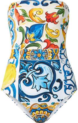 Dolce & Gabbana Maiolica Cutout Printed Bandeau Swimsuit - Blue