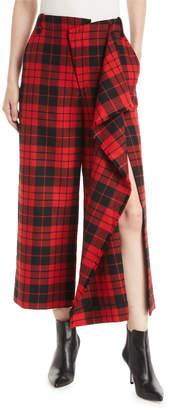 Monse Cascade Slit Flared-Leg Wool Tartan Culotte Pants