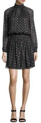 Velvet Verna Mock-Neck Long-Sleeve Metallic Short Dress
