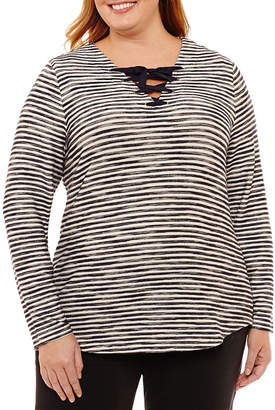 ST. JOHN'S BAY SJB ACTIVE Active Long Sleeve Lace Up Top-Plus