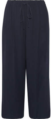 Vince Pleated Crepe Wide-leg Pants - Navy