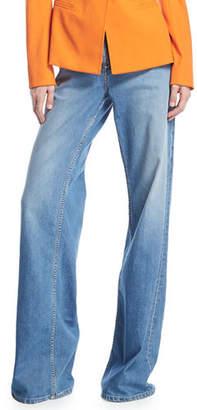 Oscar de la Renta Wide-Leg High-Rise Denim Pants