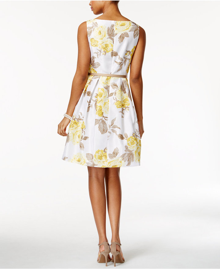 Jessica Howard Belted Floral-Print Fit & Flare Dress and Cardigan 2